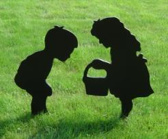 Yard Shadow: Boy Bending Over & Girl With Basket